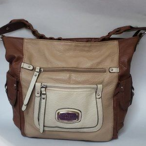 Rosetti Brown and Tan Braided Large Shoulderbag